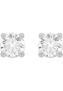 Brinco Solitário Ouro Branco E 60 Pontos De Diamantes