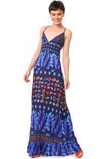 Vestido Desigual Longo Greta Azul