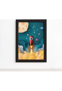 Quadro Astronauta Foguete Vermelho Moldura Preta 22X32Cm - Multicolorido - Dafiti