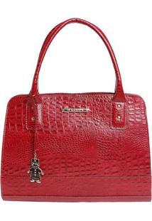 Bolsa De Mão Em Couro Textura Crocodilo - Vermelha -Di Marlys