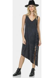 Vestido Mídi Assimétrico Malha Preto Reativo - Lez A Lez
