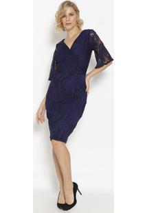 Vestido Mídi Em Tule Transpassado- Azul Marinho- Simsimple Life