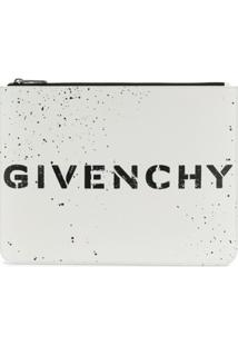 Givenchy Bolsa Clutch Com Logo - Branco