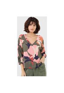 Blusa Maria Filó Estampada Verde/Rosa