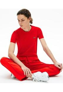 Camiseta Lacoste Slim Fit Feminina - Feminino-Vermelho