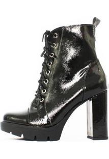 Bota Damannu Shoes Annie Salto Grosso Verniz Feminina - Feminino-Preto
