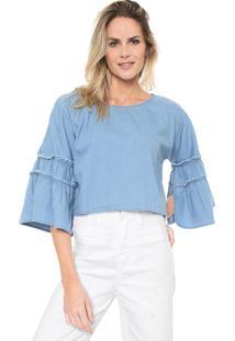 Blusa Jeans Mercatto Babados Azul