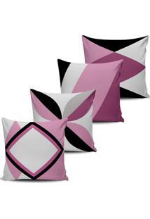 Kit 4 Capas Almofadas Decorativas Abstrata Rosa Pink 45X45Cm - Tricae