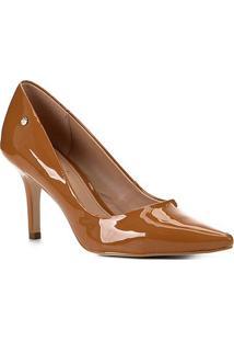 Scarpin Shoestock Salto Médio Naked - Feminino-Castanha