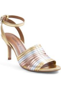 Sandalia Salto Medio Com Fivela Dourado