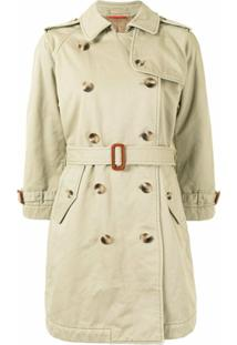 Denimist Belted Double-Breasted Coat - Marrom