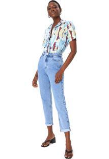 Calça Jeans Mom Marmorizado