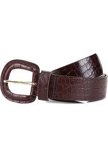 Cinto Couro Shoestock Croco Médio Feminino - Feminino-Marrom