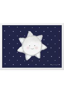 Quadro Mdf Estrela Sol Azul Marinho 46Cm Grão De Gente Azul