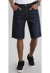 Bermuda Jeans Reta Azul Escuro