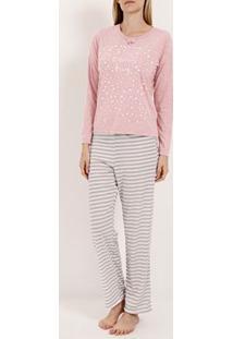 Pijama Longo Feminino Rosa/Bege