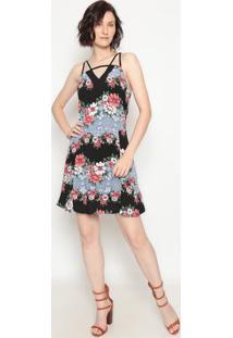 Vestido Floral Com Recortes- Preto & Azul- Operateoperate