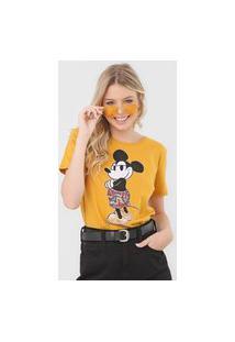 Camiseta Cativa Disney Mickey Paetê Amarela