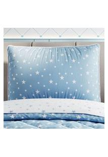 Capa Travesseiro Infantil Menino Azul Estrelas Gráo De Gente Azul