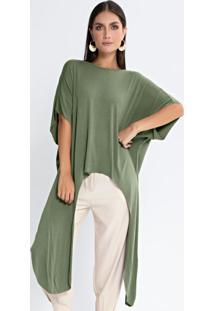 Blusa Assimétrica Pontas Laterais Verde