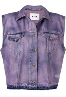 Msgm Sleeveless Denim Jacket - Roxo