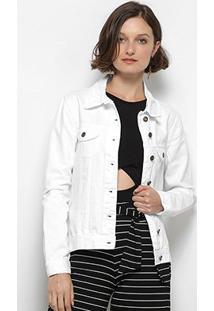 Jaqueta Jeans Mercatto Feminina - Feminino-Branco