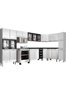 Cozinha Modulada Evidence Aço 10 Módulos Composição 55 Branco/Preto -