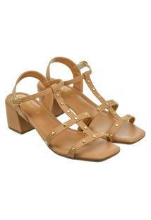 Sandália Feminina Donatella Shoes Bico Quadrado Salto Alto Bloco Spike Pele