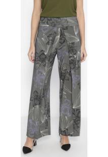 Calça Pantalona Floral Com Fendas - Verde Escuro & Pretawool Line