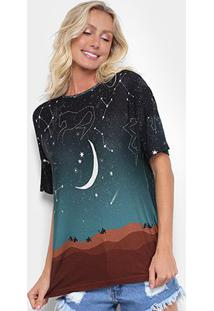 Camiseta Cantão Noite Estrelada Feminina - Feminino-Preto+Verde