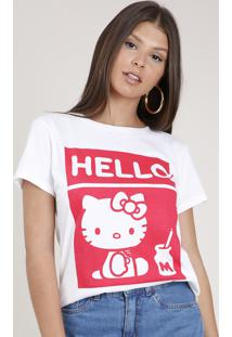 Blusa Feminina Hello Kitty Manga Curta Decote Redondo Branca