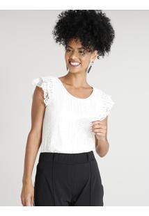 e35b70f77 CEA. Blusa Feminina Poliester Elastano Viscose Poliamida Renda Decote  Redondo Off White Com Manga Curta Branca