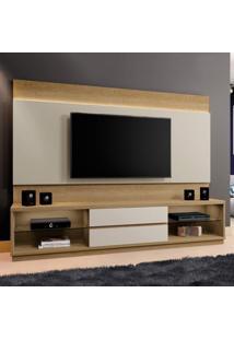 Estante Home Para Tv Até 65 Polegadas Com Led 2 Gavetas Paris Siena Móveis Damasco/Off White