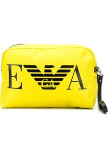 Emporio Armani Clutch Com Logo De Couro - Amarelo