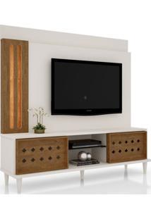 Estante Home Theater Para Tv Até 60 Pol. Splendore Off White/Amêndoa - Lukaliam Móveis