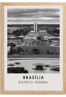 Quadro Oppen House 65X45Cm Cidades Brasília Brasil Moldura Natural Com Vidro - Oppen House Decora