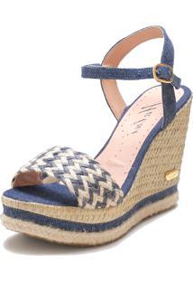 Sandália Sb Shoes Anabela Ref.3227 Marinho