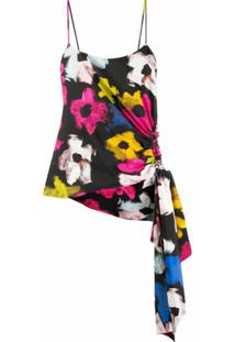 Colville Blusa Assimétrica Com Estampa Floral - Preto
