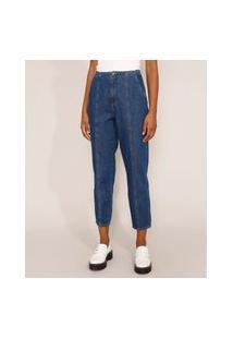 Calça Jeans Feminina Baggy Cintura Super Alta Com Recortes Azul Escuro