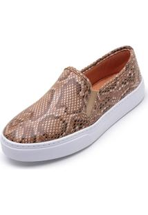 Tênis Casual Slip On Cristaishoes Piton Caramelo
