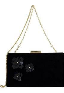 Bolsa Clutch Le Diamond Flowers Preto