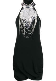 Balmain Vestido Mini Com Aplicações - Preto