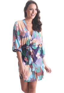 Kimono Curto Boho - Roxo - Líquido - Tricae