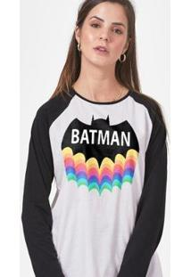 Camiseta Manga Longa Feminina Batman Rainbow - Feminino-Branco+Preto