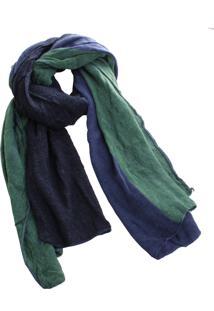 Lenço Real Arte Bicolor Verde/Azul