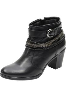 Bota Country Escrete Ankle Boot Preto Cano Médio