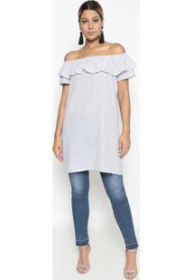 Blusa Ombro A Ombro Listrada- Off White & Azul- Bhlbhl