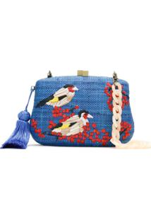 Serpui Clutch De Palha Bordada - Azul