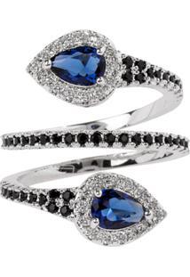 Anel Snake The Ring Boutique Pedra Cristal Azul Safira Ródio Ouro Branco - Tricae