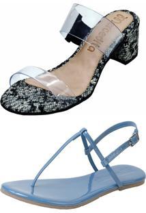 Kit Sandália Tamanco Salto E Rasteira Mercedita Shoes Cristal Com Cobra Chumbo E Verniz Azul Denin